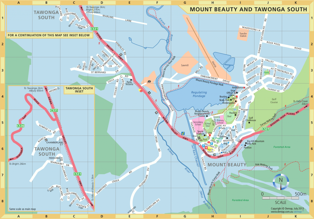 Map of Mount Beauty and Tawonga, 2013